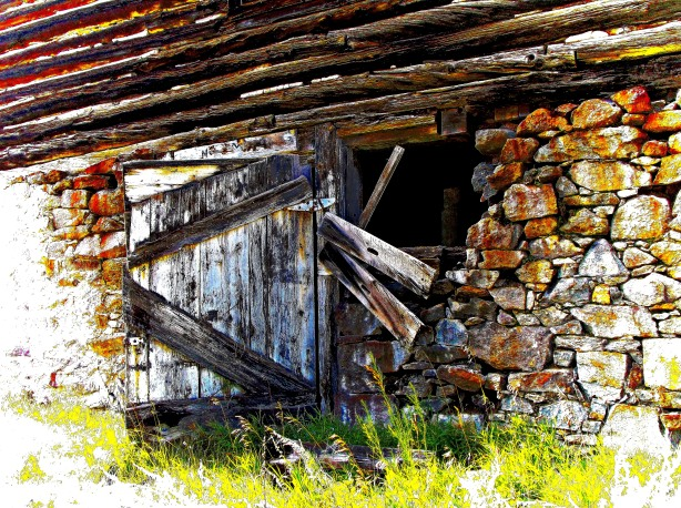 Cellar door under a barn, Granite, Colorado