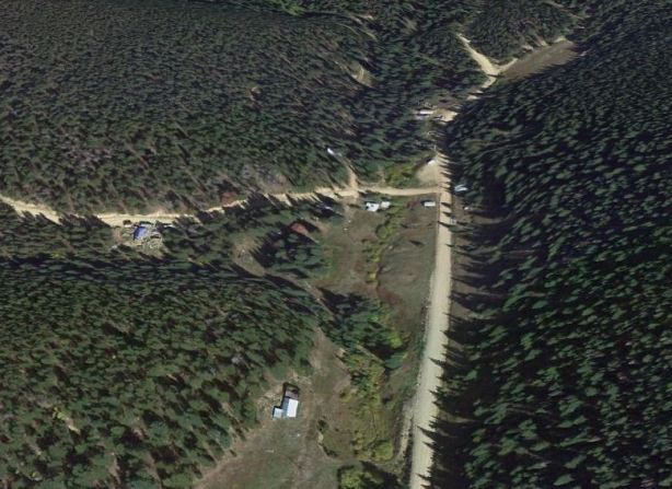 Modern satellite view showing Apex Valley Road, the junction with Elk Park Road (left fork) and the road up Dakota Hill (straight, slight right)