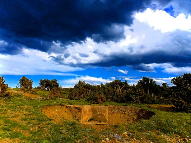 Stormy skies over one of the 1905 mill foundations