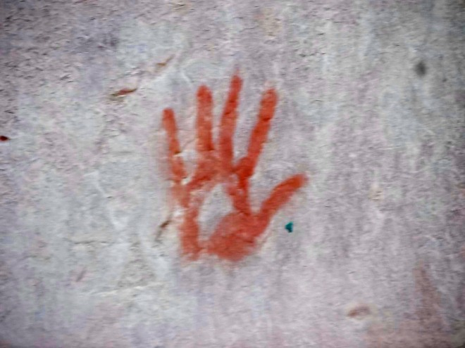 A hand print, many thousands of years old.