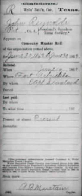 John Reynolds enlistment record