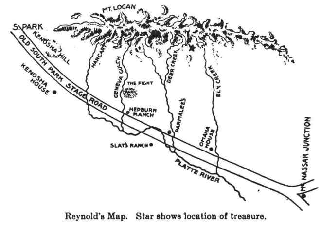 Copy of the crude map drawn by John Reynolds on his death bed in 1871.