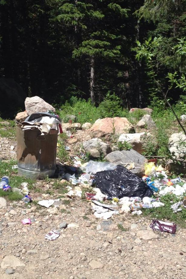 Photo of trash left behind at a campsite. Taken two weeks ago by friends of mine. I've seen similar too many times to count in recent years.